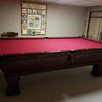 Vintage 8' Billiard Table For Sale