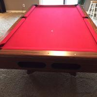 8 Ft. 3 piece slate pool table with cover and accessories - $250.